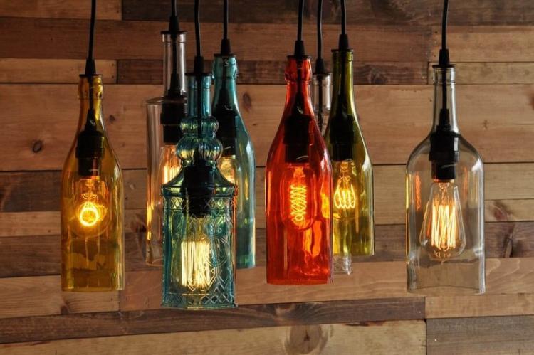 Оригинальные плафоны из бутылок своими руками