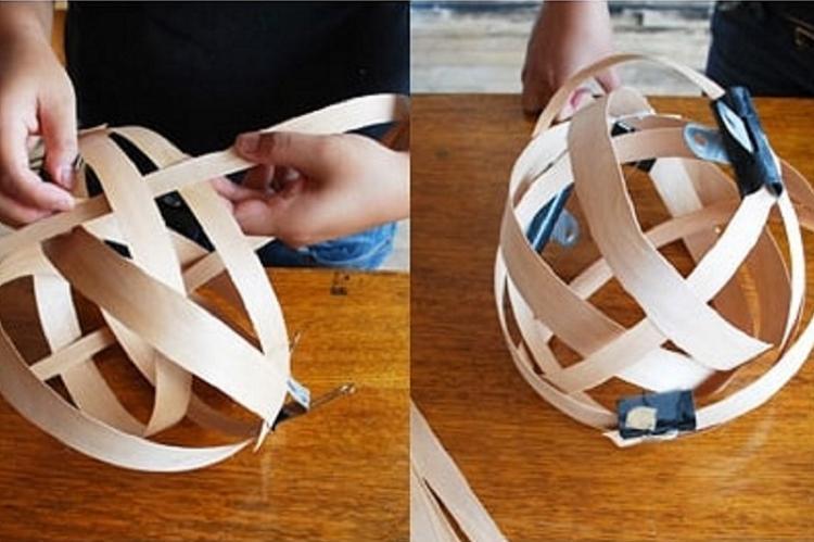 Плафон для люстры из древесных лент своими руками