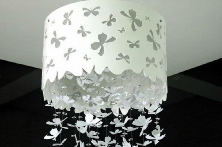 Плафон для люстры с бабочками своими руками