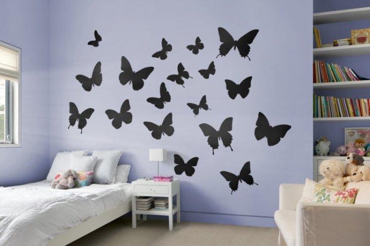 Нарисованные бабочки на стену своими руками