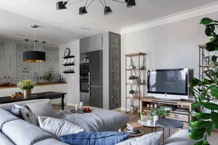 «Белые ночи»: Кухня-гостиная в скандинавском стиле - дизайн интерьера