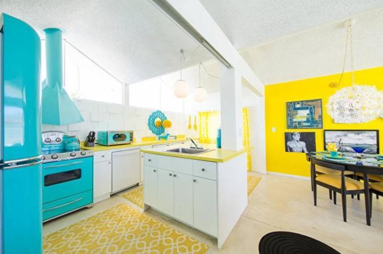 Дизайн кухни - Бирюзовый с желтым
