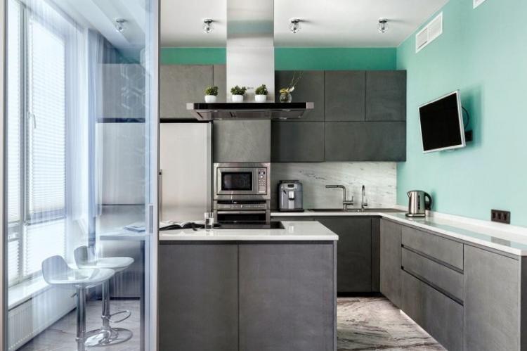Дизайн кухни - Бирюзовый с серым