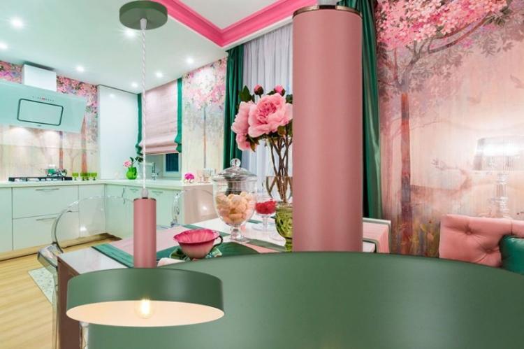 Дизайн кухни - Бирюзовый с розовым