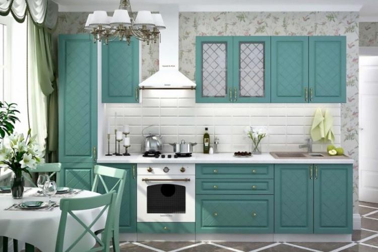 Бирюзовая кухня в стиле прованс - Дизайн интерьера