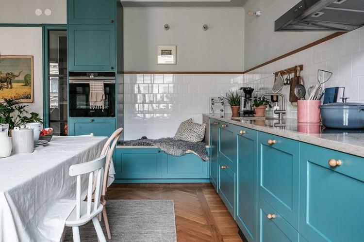 Бирюзовая кухня в скандинавском стиле - Дизайн интерьера