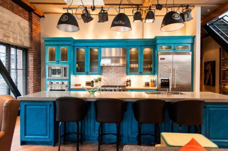 Бирюзовая кухня в стиле лофт - Дизайн интерьера