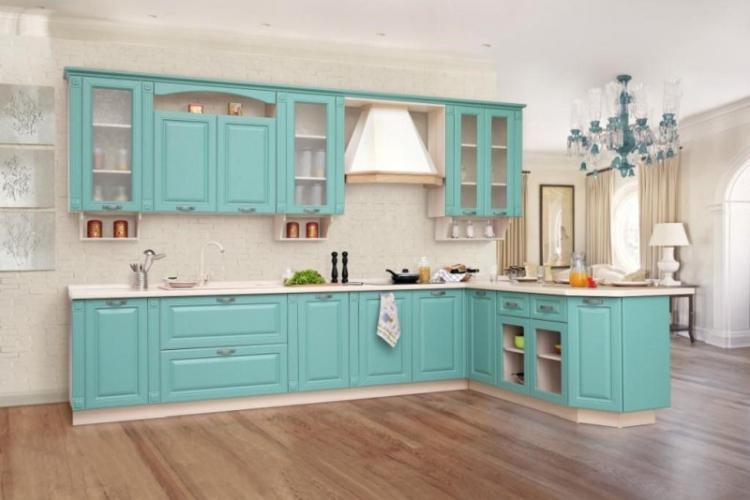 Бирюзовая кухня в классическом стиле - Дизайн интерьера