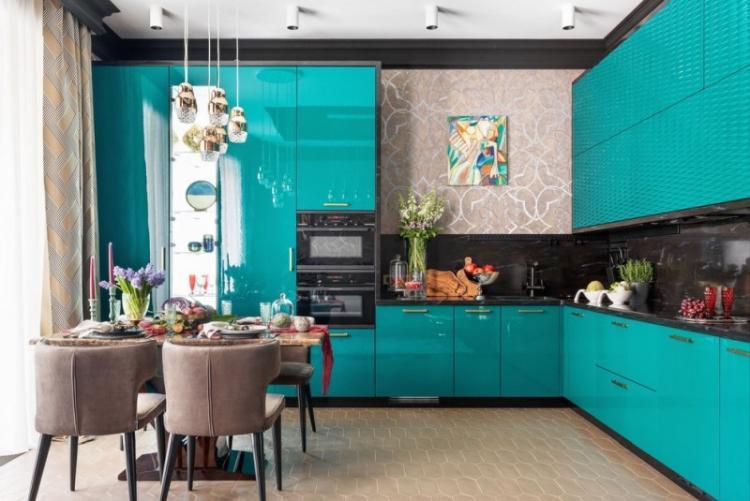 Мебель и текстиль - Дизайн бирюзовой кухни
