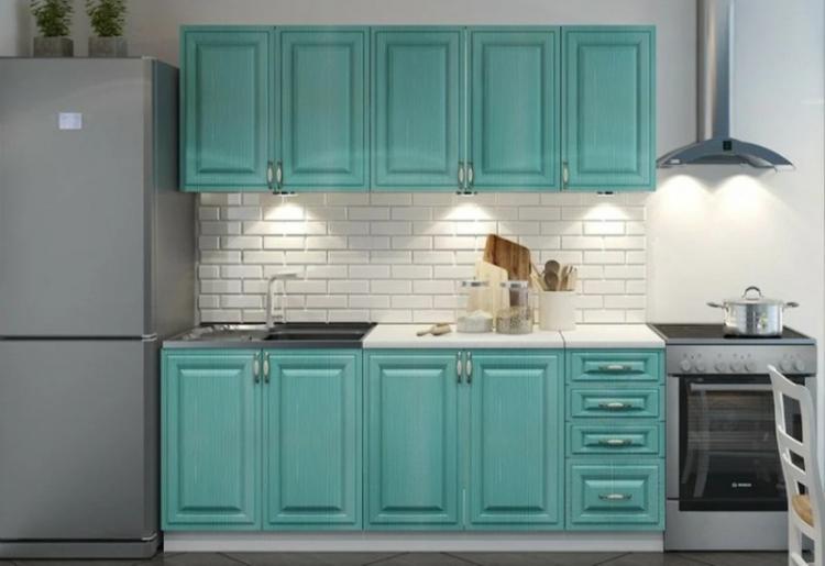 Маленькая кухня в бирюзовом цвете - Дизайн интерьера