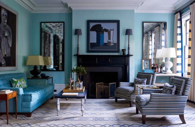 Бирюзовый с синим - Сочетания цветов в интерьере