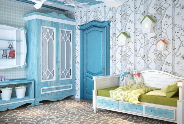 Бирюзовый цвет в интерьере детской комнаты