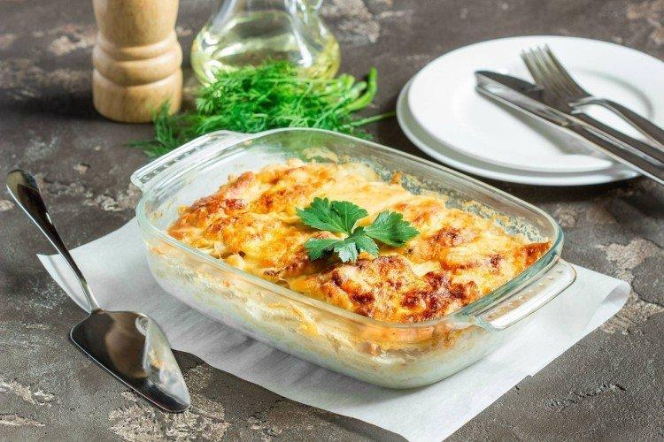 Картофельная запеканка с кальмарами - Что приготовить из кальмаров рецепты