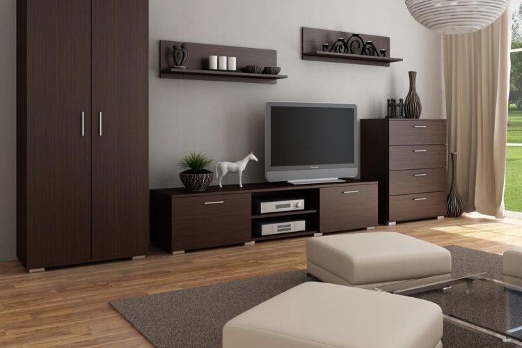 Цвет венге в гостиной - дизайн фото