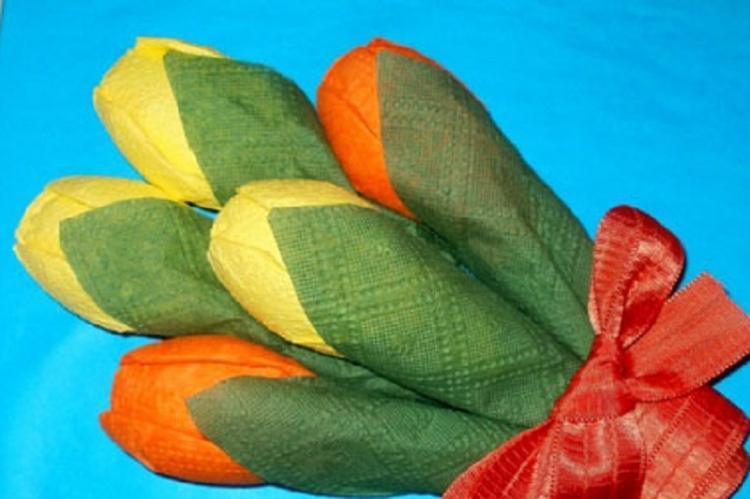 Тюльпан - Цветы из салфеток своими руками