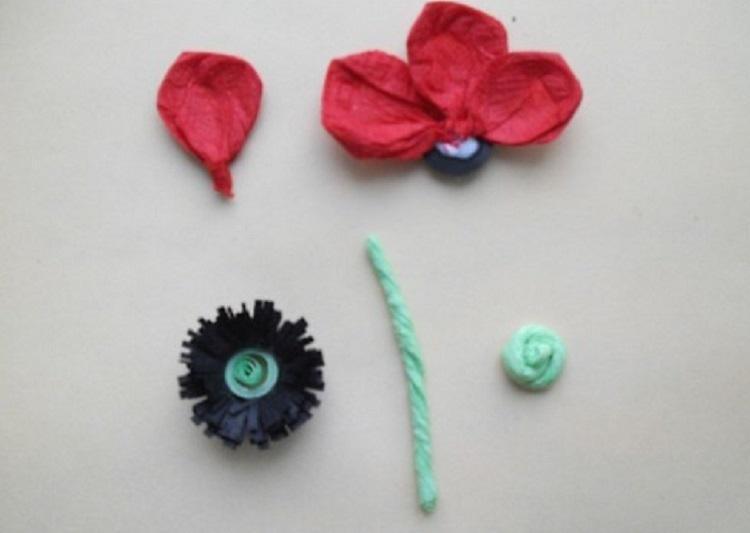Мак - Цветы из салфеток своими руками