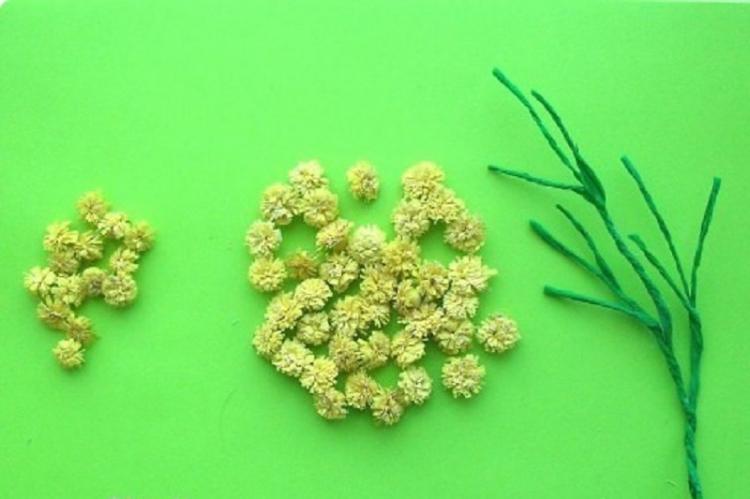 Веточка мимозы - Цветы из салфеток своими руками