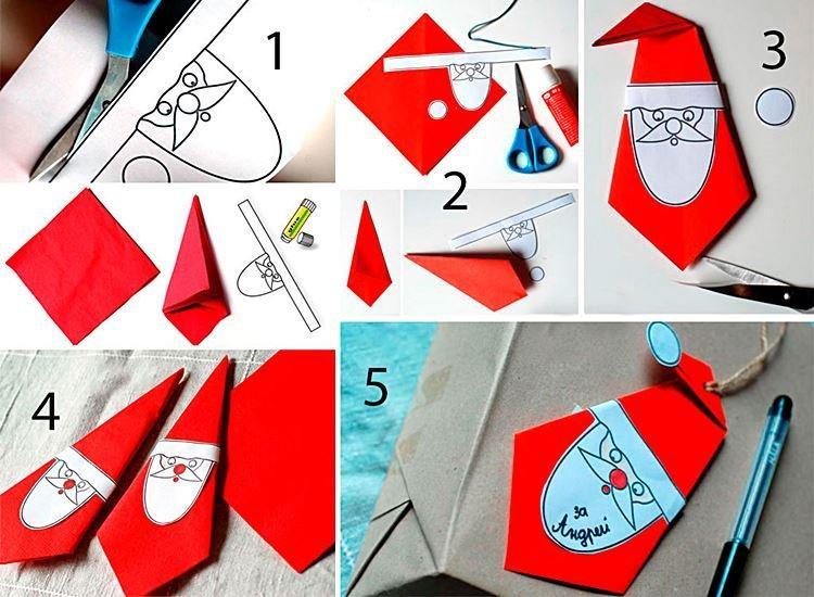 Оригами Дед Мороз из бумаги своими руками в детский сад и школу