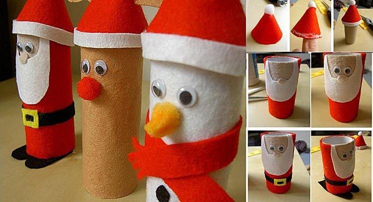 Дед Мороз из картонной втулки своими руками в детский сад и школу