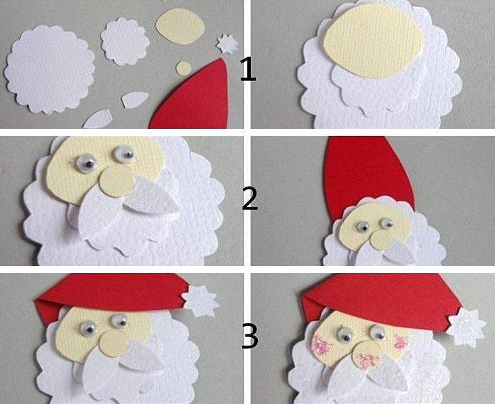 Дед Мороз в виде аппликации своими руками в детский сад и школу