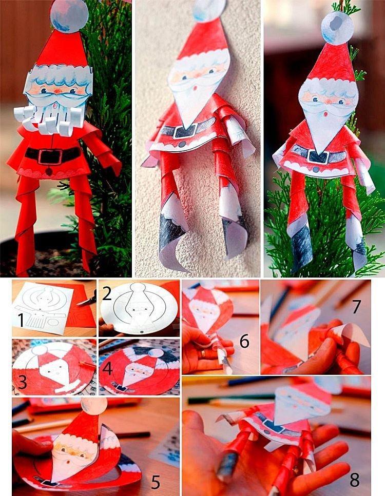 Спиральный Дед Мороз из бумаги своими руками в детский сад и школу
