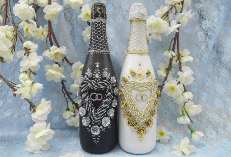 Бутылки для свадебного декора своими руками