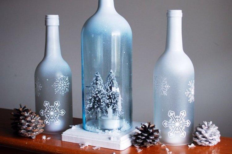 Новогодний шар в бутылке - Декор бутылок своими руками