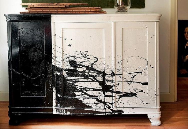 Разбрызгивание - Декор старого шкафа своими руками