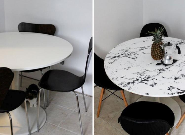 Пленка-самоклейка - Декор старого стола своими руками