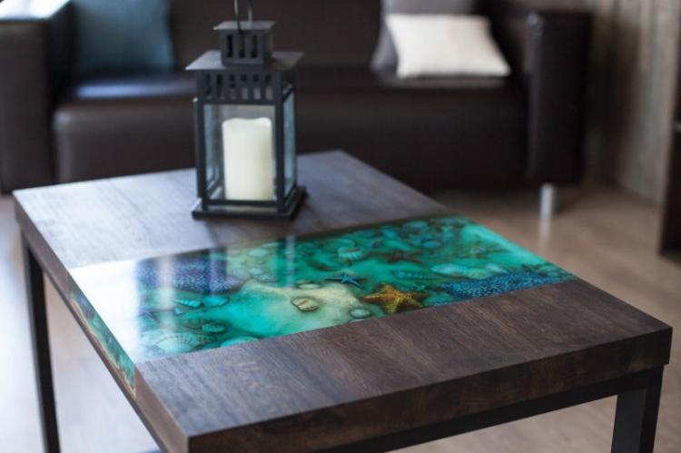 Эпоксидная смола - Декор старого стола своими руками
