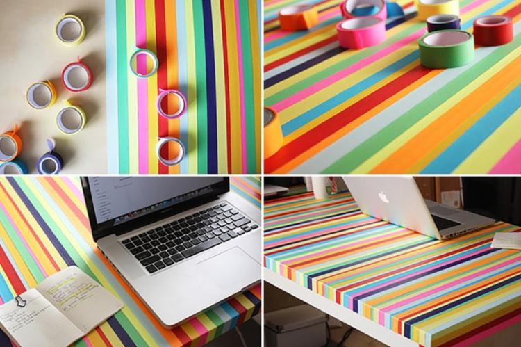 Разноцветный скотч - Декор старого стола своими руками