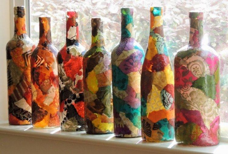 Декупаж бутылки в технике декопатч - фото и идеи