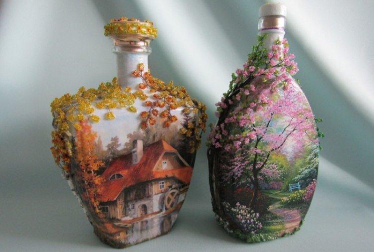 Декупаж бутылки арт-гелями - фото и идеи