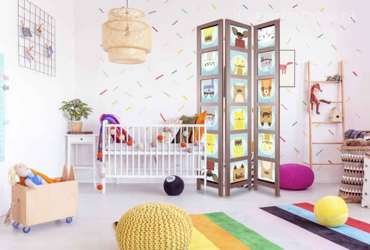 Мобильные перегородки - Зонирование детской комнаты для разнополых детей