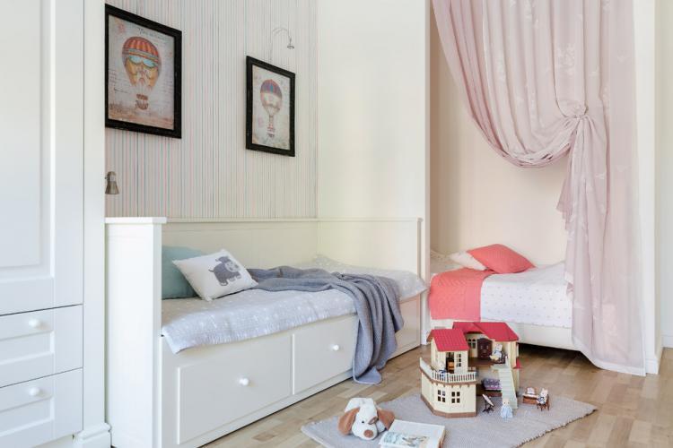 Занавески - Зонирование детской комнаты для разнополых детей