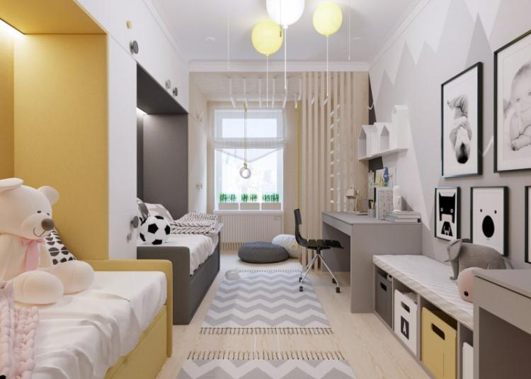 Детская комната для разнополых детей в скандинавском стиле - Дизайн интерьера