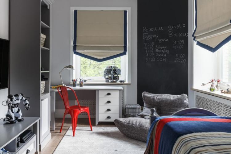 Серая детская комната для мальчика - Дизайн интерьера