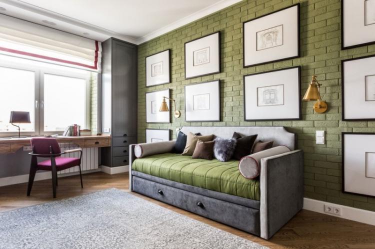 Зеленая детская комната для мальчика - Дизайн интерьера