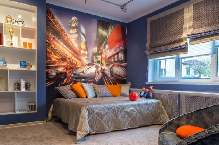 Синяя детская комната для мальчика - Дизайн интерьера