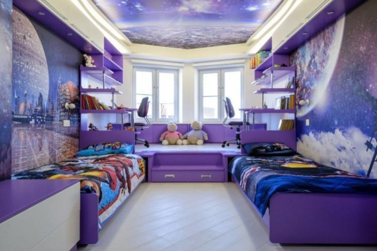 Фиолетовая детская комната для мальчика - Дизайн интерьера