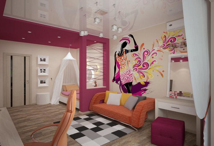 Зонирование - Дизайн детской комнаты для девочки