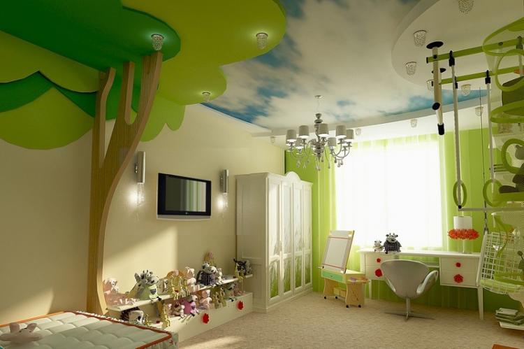Отделка потолка - Дизайн детской комнаты для девочки