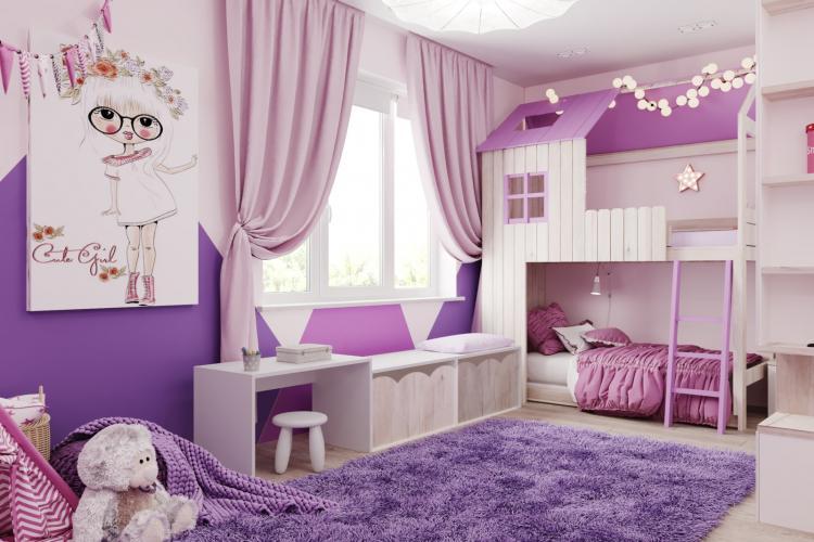 Фиолетовая детская комната для девочки - Дизайн интерьера