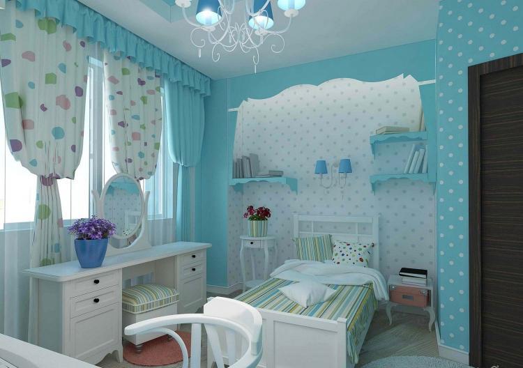 Синяя детская комната для девочки - Дизайн интерьера