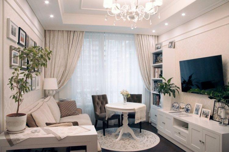 Белая гостиная 15 кв.м. - Дизайн интерьера
