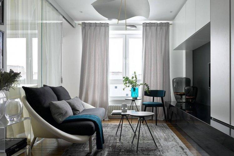 Серая гостиная 15 кв.м. - Дизайн интерьера