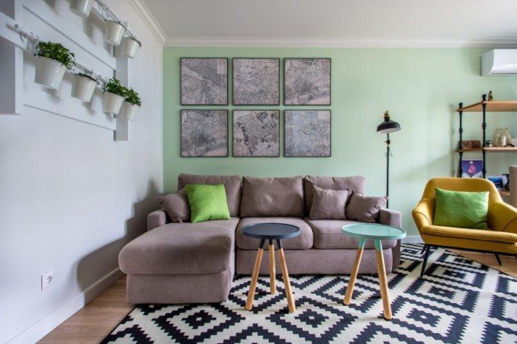 Зеленая гостиная 15 кв.м. - Дизайн интерьера