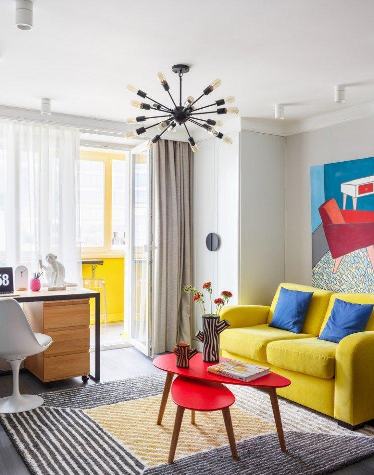 Желтая гостиная 15 кв.м. - Дизайн интерьера