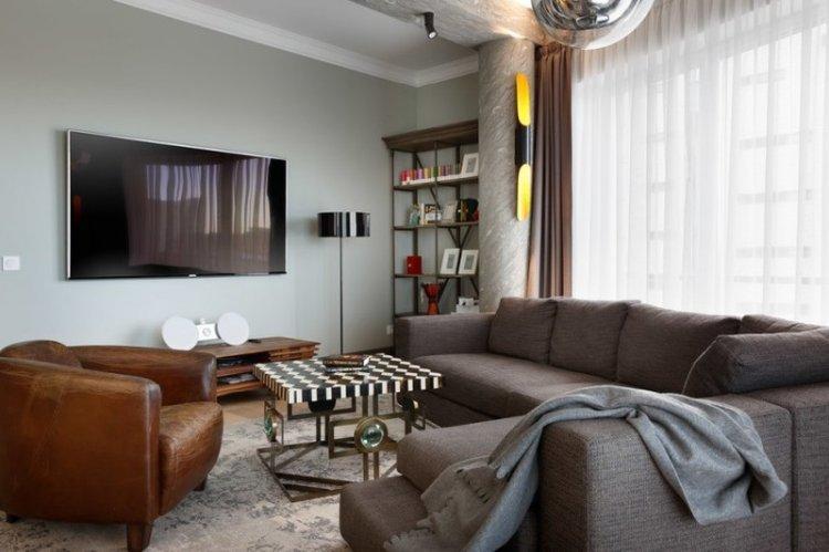 Отделка стен - Дизайн гостиной 15 кв.м.