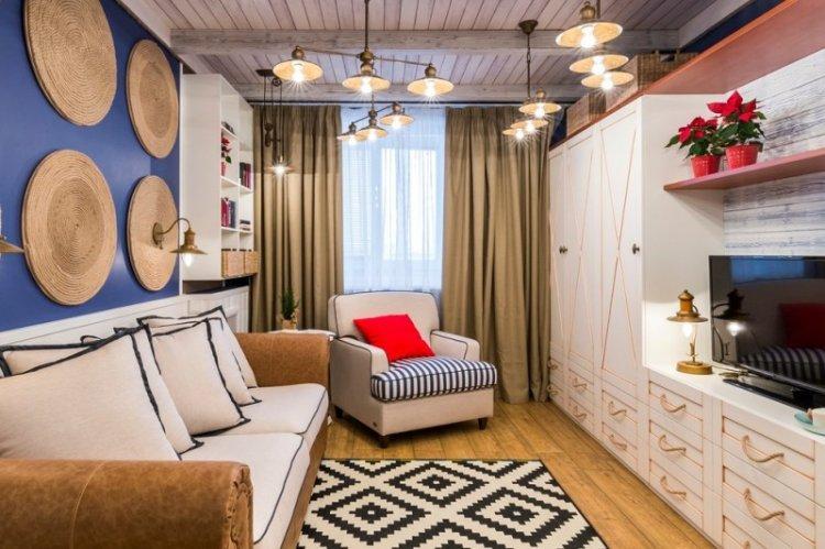 Освещение и подсветка - Дизайн гостиной 15 кв.м.